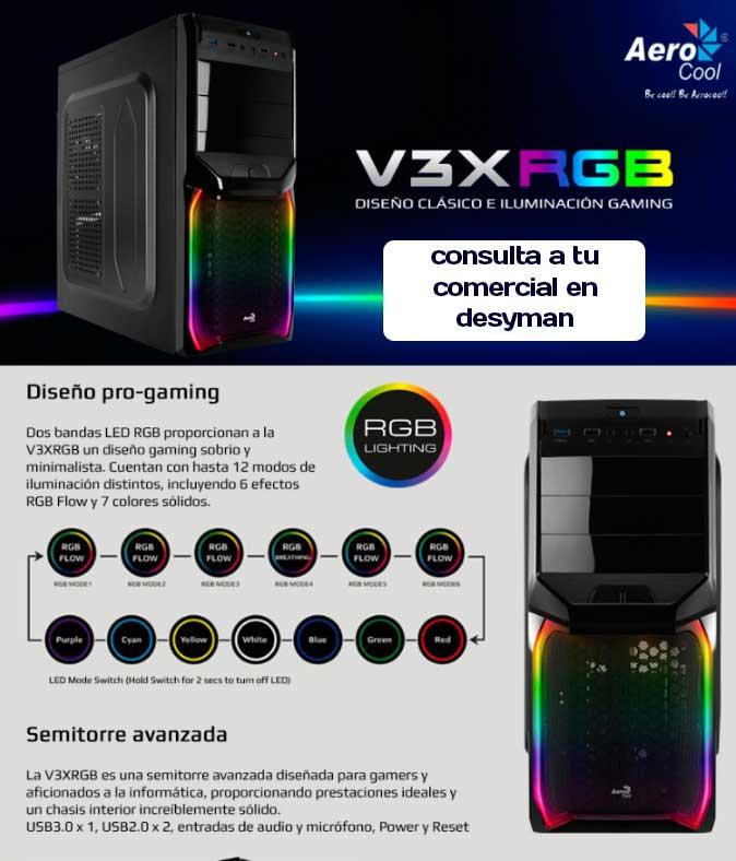 Caja V3X RGB de AeroCool con diseño pro-gaming