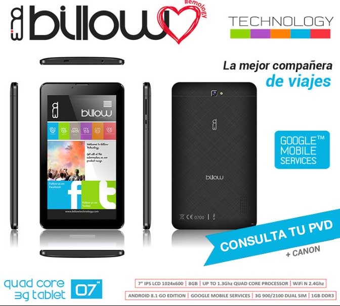 """X703B - TABLET BILLOW 7"""" IPS 1024x600 QUAD CORE 1.3GHZ 8GB 1GBDDR3 DUALSIM 3G WIFI DUALBAND ANDROID 8.1 DOBLE CAMARA COLOR"""