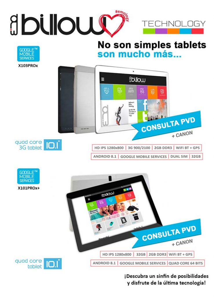 nuevas tablets de billow